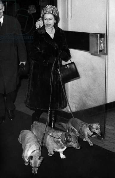Queen Elizabeth II with her dogs leaving Liverpool Street Station, 28th December 1972 (b/w photo)