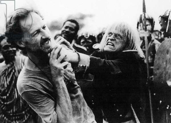 Director Werner Herzog and Klaus Kinski on Set of Film Cobra Verde 1987 (b/w photo)