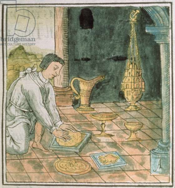 Ms Palat. 218-220 Book IX Gold objects in an Aztec shop, from the 'Florentine Codex' by Bernardino de Sahagun, c.1540-85