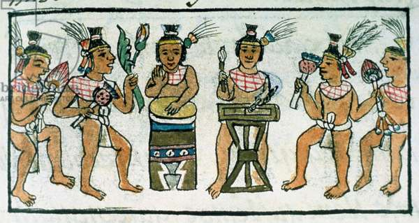 Ms Palat. 218-220 Book IX Aztec musicians from an account of Aztec crafts in Central Mexico, from the 'Florentine Codex' by Bernardino de Sahagun, c.1540-85