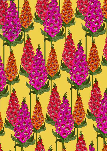 Foxglove (Reds), 2016, Digital Repeat Pattern (Vector)