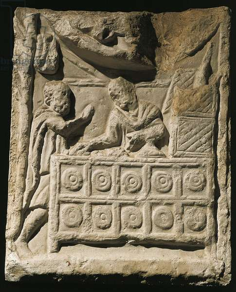 Relief portraying moneychanger's shop or 'Silver tavern', from sarcophagus in Palazzo Salviati in Rome