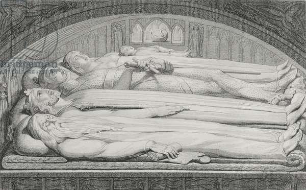The King, Councellor, Warrior, Mother and Child in the Tomb, illustration from 'The Grave, A Poem' by William Blake (1757-1827) engraved by Luigi Schiavonetti (1765-1810), 1808 (etching)
