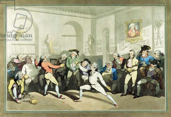 Mr H Angelo's Fencing Academy, engraved by Charles Rosenberg, 1791 (hand coloured aquatint)