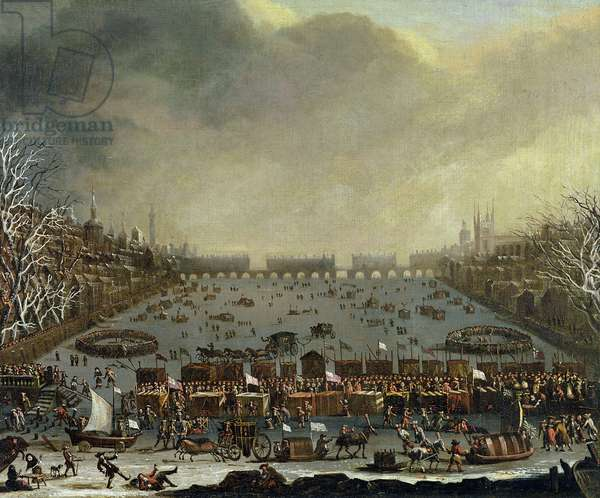 The Frost Fair of the winter of 1683-4 on the Thames, with Old London Bridge in the Distance. c.1685 (oil on canvas)
