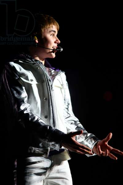 Justin Bieber performing at the NIA